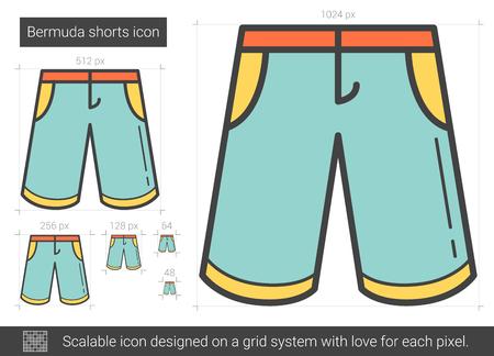 Bermuda shorts vector lijn pictogram geïsoleerd op een witte achtergrond. Bermuda shorts lijn pictogram voor infographic, website of app. Schaalbaar pictogram ontworpen op een rastersysteem.