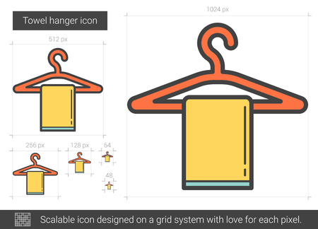 absorb: Towel hanger vector line icon isolated on white background. Towel hanger line icon for infographic, website or app. Scalable icon designed on a grid system. Illustration