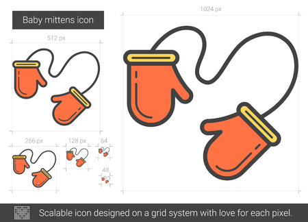 Baby mittens line icon.