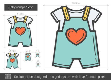 romper: Baby romper line icon.