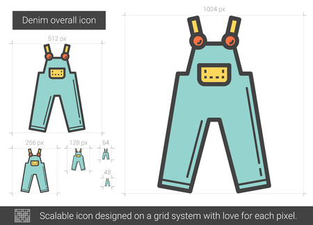 Denim overall line icon.