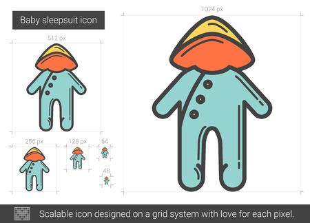 Baby sleepsuit line icon. Illustration