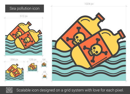 polluted: Sea pollution line icon.