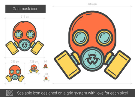 scalable: Gas mask line icon.