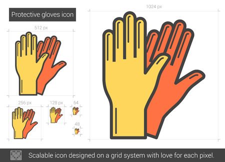 Protective gloves line icon.