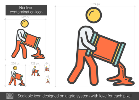 Nuclear contamination line icon. Illustration