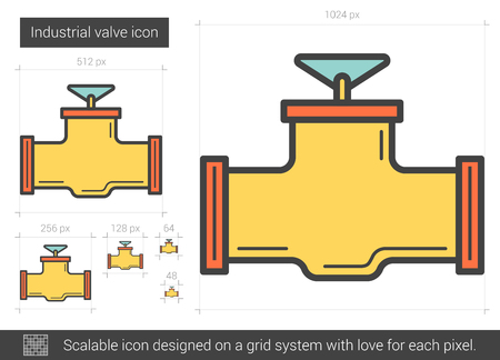 Industrial valve line icon.