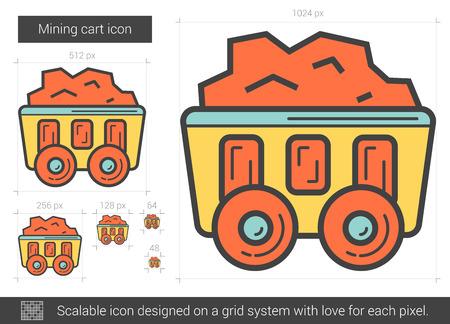 heavy industry: Mining cart line icon.