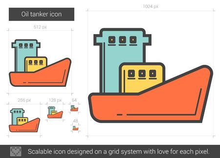 Oil tanker line icon. Ilustração