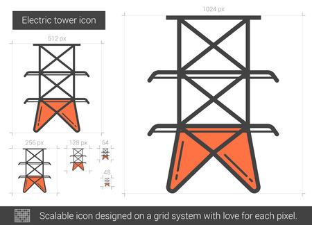 Electric tower line icon. Çizim