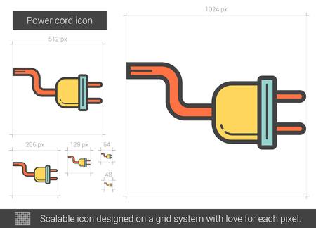 device: Power cord line icon. Illustration