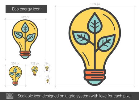 electric grid: Eco energy line icon.