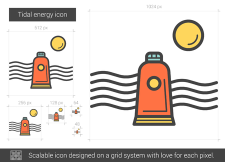 Tidal energy line icon. Illustration