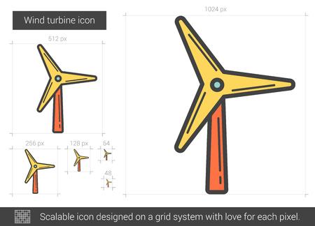 Wind turbine line icon. Vettoriali