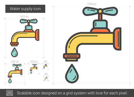 metal grid: Water supply line icon.