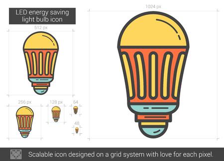 electric grid: LED energy saving light bulb line icon.