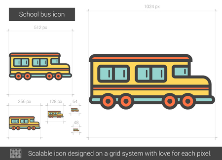 scalable: School bus line icon. Illustration