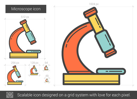 investigating: Microscope line icon.