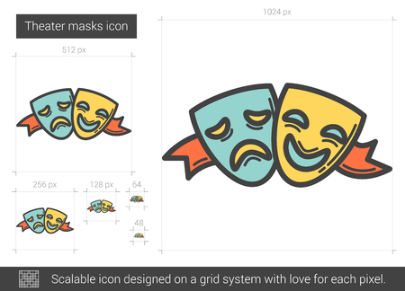 theatrical performance: Theater masks line icon.