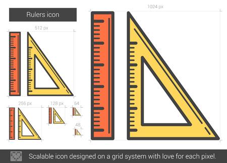 Rulers line icon. Illustration