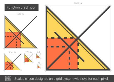ordinate: Function graph line icon. Illustration