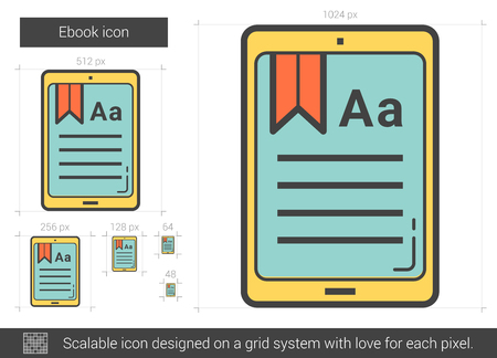 touchpad: Ebook line icon. Vector illustration.