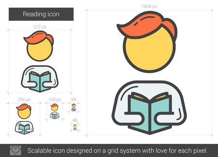 Reading line icon. Vector illustration.
