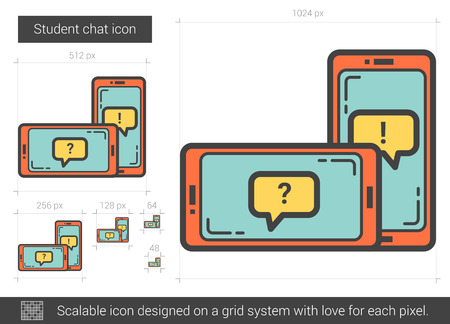 scalable: Student chat line icon.