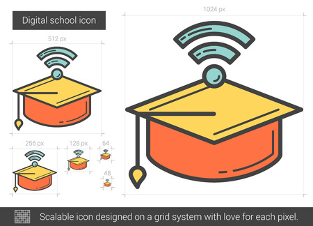 scalable: Digital school line icon. Illustration