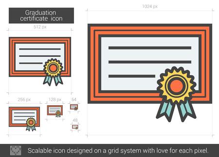 school bills: Graduation certificate line icon.