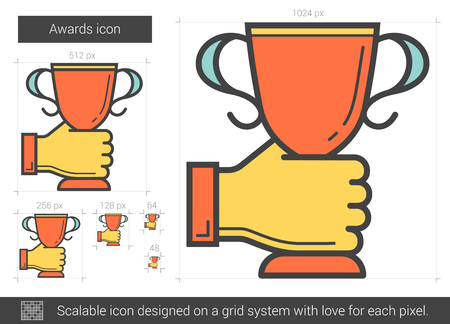 scalable: Awards line icon. Illustration