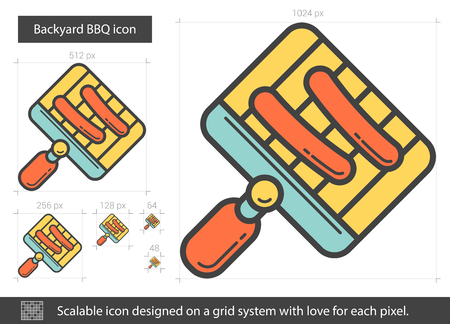 metal grate: Backyard BBQ line icon. Vector illustration.