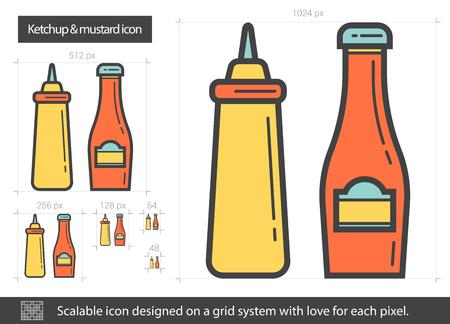 Ketchup and mustard line icon. Vector illustration.