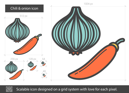 burning: Chili and onion line icon. Vector illustration.