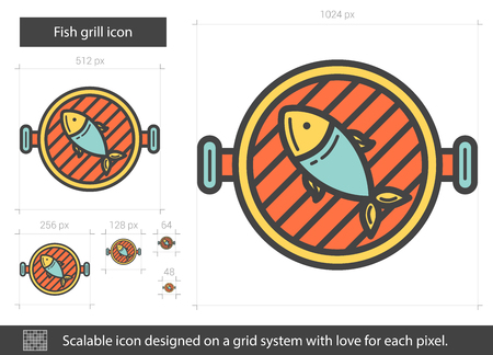 Fish grill line icon. Vector illustration.