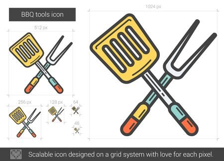 utensilios de cocina: BBQ tools line icon. Vector illustration.