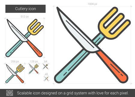 Cutlery line icon. Vector illustration. 向量圖像
