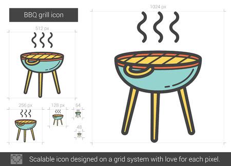BBQ grill line icon. Vector illustration.