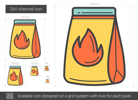 Grill charcoal line icon.