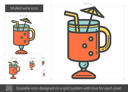 cartoon umbrella: Mulled wine line icon.