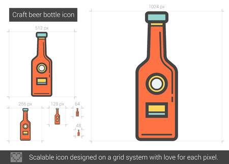 brandy: Craft beer bottle line icon.