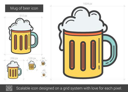 beers: Mug of beer line icon.