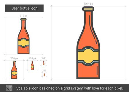 Beer bottle line icon. Illustration