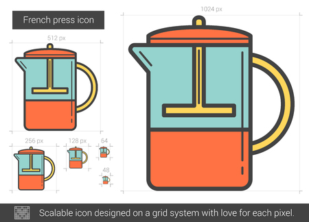 French press line icon. Illustration
