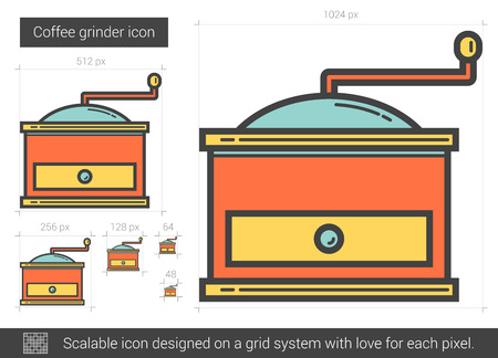 grinder: Coffee grinder line icon. Illustration