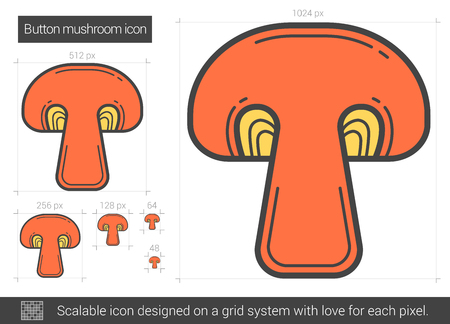 champignon: Button mushroom line icon. Illustration