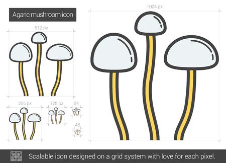 Agaric mushroom line icon. Vector illustration.