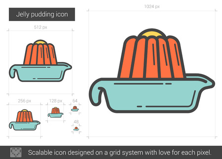 Jelly pudding line icon. Vector illustration.