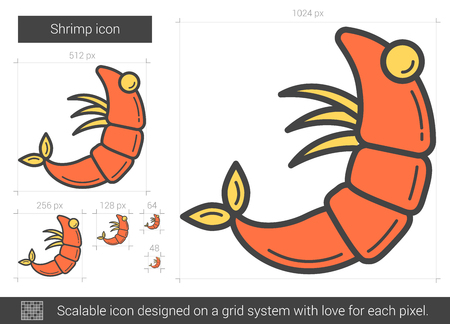 Shrimp line icon. Vector illustration.