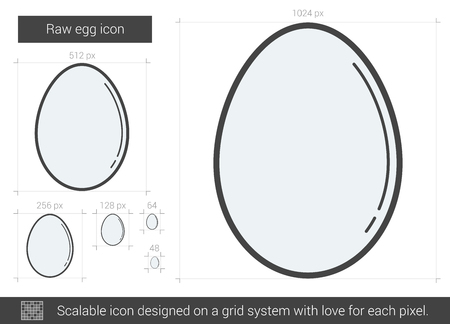 Raw egg line icon. Vector illustration.
